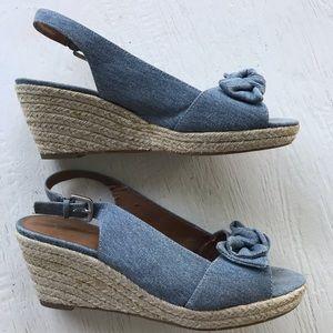 Franco Sarto jean wedge sandal heel size 8